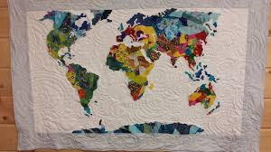 Map Quilt Map Collage Applique Wall Hanging