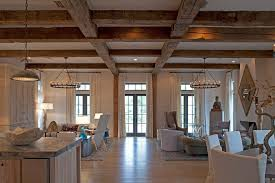 wood beam ceilings family room traditional with dark stained wood