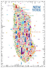 Chicago Map Poster by A Gloriously Drawn Insider U0027s Map Of New York Iconic New York