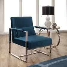 Silver Accent Chair Abbyson Sloan Teal Blue Velvet Accent Chair With Silver Metal Base