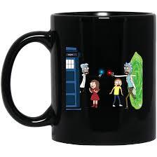 design coffee mug doctor who vs rick and morty mashup design coffee mug