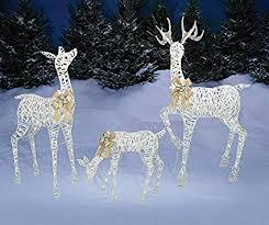 lighted reindeer set of 3 lighted white gold deer family buck 60