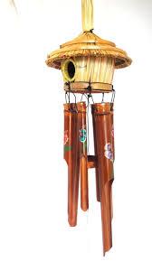 bamboo wind chimes tiki bird house painted flowers uniquk