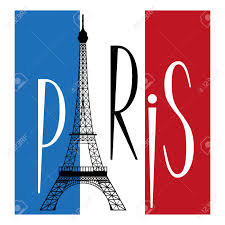 Flag Of Franc Eiffel Tower Over Flag Of France And Text Of Paris Royalty Free