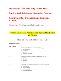 test bank advanced nutrition and human metabolism 6th edition