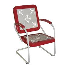 Red Metal Chair 4d Concepts Retro Metal Outdoor Dining Chair The Mine