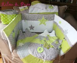 chambre bébé taupe et vert anis thème anis gris taupe blanc sur commande tour de lit linge de