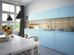 cuisine bleu ciel mobilier sobre et minimaliste de couleur bleu ciel pour une cuisine