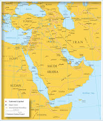 middle east map test map of asia with cities and capitals major tourist
