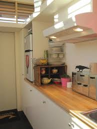 galley kitchen in a tiny house small fridge raised to eye level