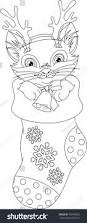 christmas cat coloring page stock vector 495849835 shutterstock