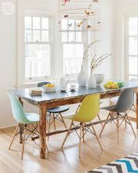 Different Color Dining Room Chairs Beautiful And Simple Painted White Dining Area Featuring Unique