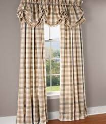 Country Plaid Valances Adamstown Sand Layered Curtain Valance Country Primitive Decor