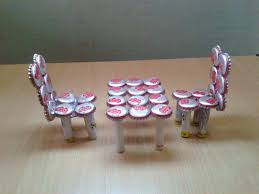 craft ideas kids waste material make miniature table chairs home