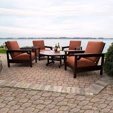 Patio Furniture Conversation Set Polywood Club 5 Piece Conversation Set