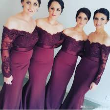 long sleeve muslim wedding stretch satin bridesmaid dresses lace