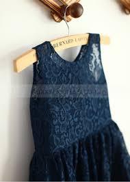 a line sleeveless navy blue lace flower dress