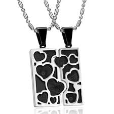 Engraved Necklaces For Couples His U0026 Hers Love Heart Pad Matching Couples Pendant Necklace Set