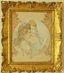 french art nouveau watercolor painting with two girls 1900 at 1stdibs