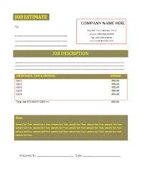 job estimate template free business templates