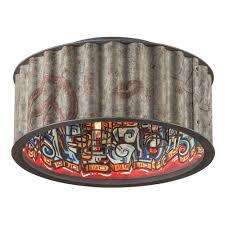 troy lighting street art 4 light weathered galvanized flush mount