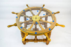 vintage glass table ls coffee table ship wheel unusual novelty side card gaming low retro