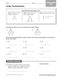 prime factorization homework 9 2 4th 5th grade worksheet