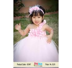 gorgeous white and light pink wedding tutu dress for kids in india