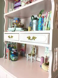 my desk has no drawers my new painted pink and gold hutch 50 bucks stop staring and