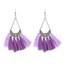 danglers earings crescent tassels drop earrings bohemian ethnic 7 colors
