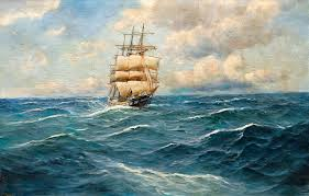 nature waves ships sailing pictorial art clouds