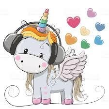 cute cartoon unicorn with headphones stock vector art 683097946