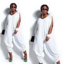 white jumpsuits plus size 1510 fashion womens sleeve romper baggy harem jumpsuit