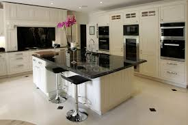 flooring mega granite marble top with black bar stools and
