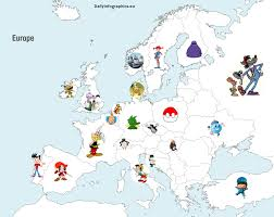 most popular cartoon character from each country daily infographics