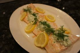 oven poached salmon with tzatziki sauce bits and bytes