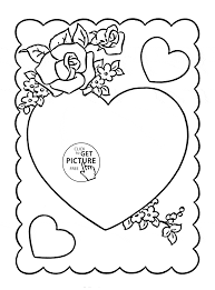 hearts valentine with flowers coloring page for kids for girls