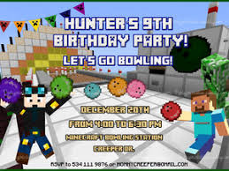 minecraft bowling invitation minecraft invitation birthday