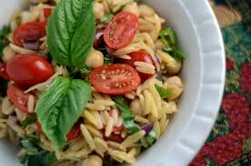 orzo pasta salad recipe with garbanzo beans cherry tomatoes and