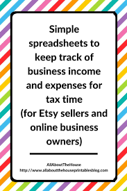 Small Business Tax Spreadsheet by Simple Spreadsheets To Keep Track Of Business Income And Expenses