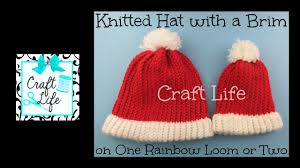 craft life knitted hat with brim santa hat tutorial on one