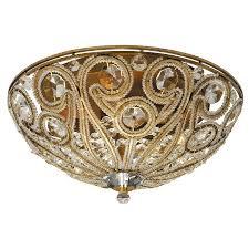 portfolio 13 in antique gold accent ceiling flush mount