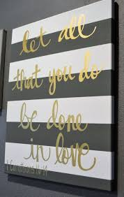 Striped Bible Verse Quote Canvas Painting Canvas Wall Hanging Gold