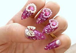 stiletto nails gyaru hime purple nail bows heart acrylic