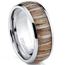 wood inlay wedding band titanium ring wedding band engagement ring with real
