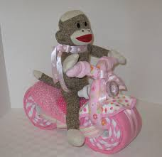 sock monkey motorcycle bike diaper cake baby shower gift