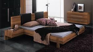 Contemporary Platform Bed Walnut Finish Contemporary Platform Bed With Options
