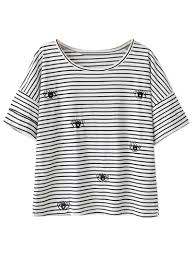 eye pattern clothes black and white stripe eye pattern short sleeve t shirt choies