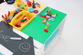 diy kids activity center lego table made with 4 wood crates