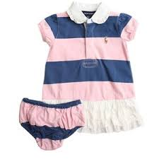 ralph baby navy and pink stripe polo dress and